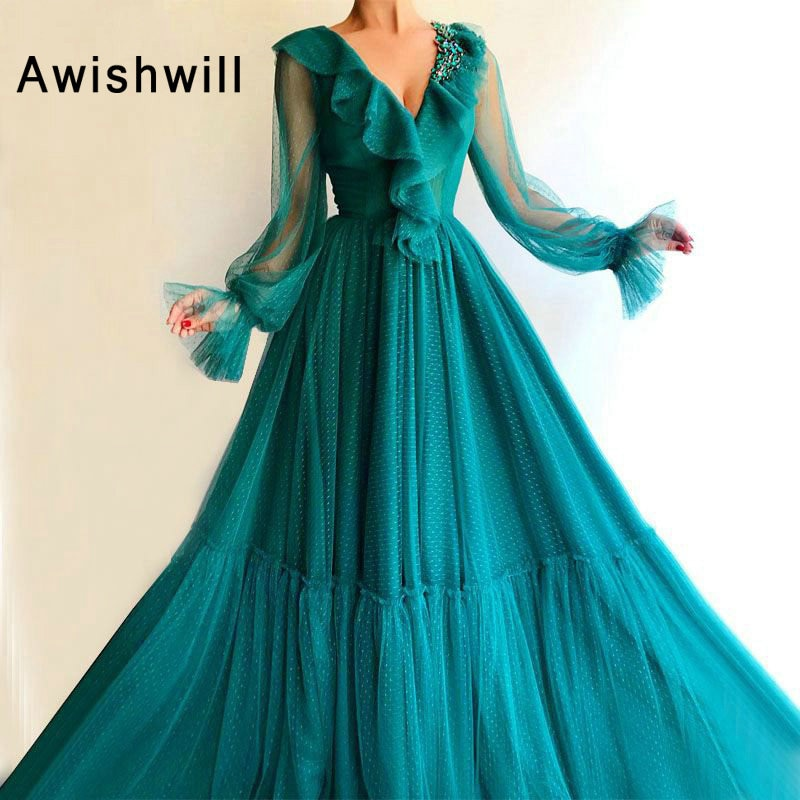 1 Long Elegant Evening Dress 2019 A-line Long Sleeve Arabic Style Women Formal Evening Gowns