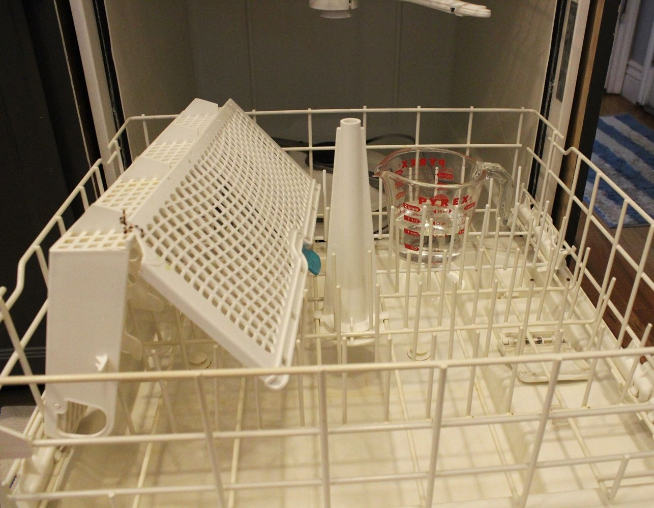 DIY Dishwasher Cleaner - place silverware tray