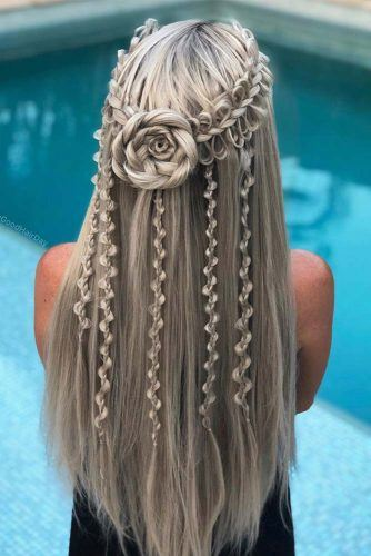 Braided Rose Half-Up With Tiny Loose Braids #halfuphairstyles #braids
