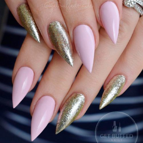 Glitter Stiletto Nails #glitternails #nudenails
