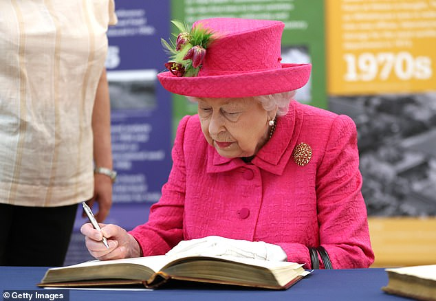 Historic: The Queen signed the visitor