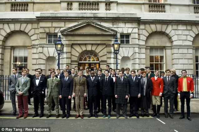 Period drama: Male models posing outside Spencer House as part of the Savile Row Tailors presentation look dressed for a role in ITV