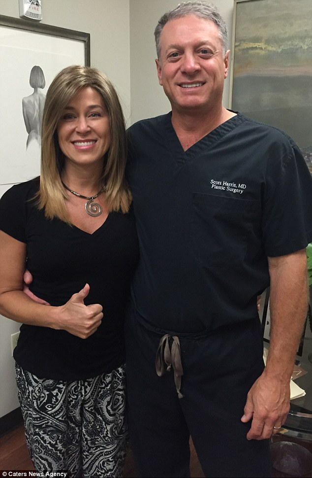 All smiles: Jennifer with her breast reconstruction surgeon Dr. Scott Harris