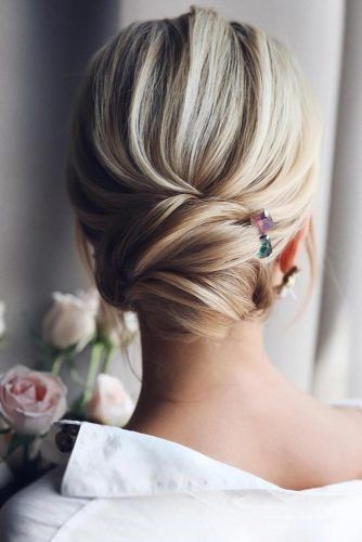 Accessorized Low Buns Updo #mediumhair #weddinghairstyles