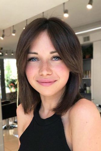 Brown Blunt Lob With Bangs #lobwithbangs #bobhaircuts #haircuts