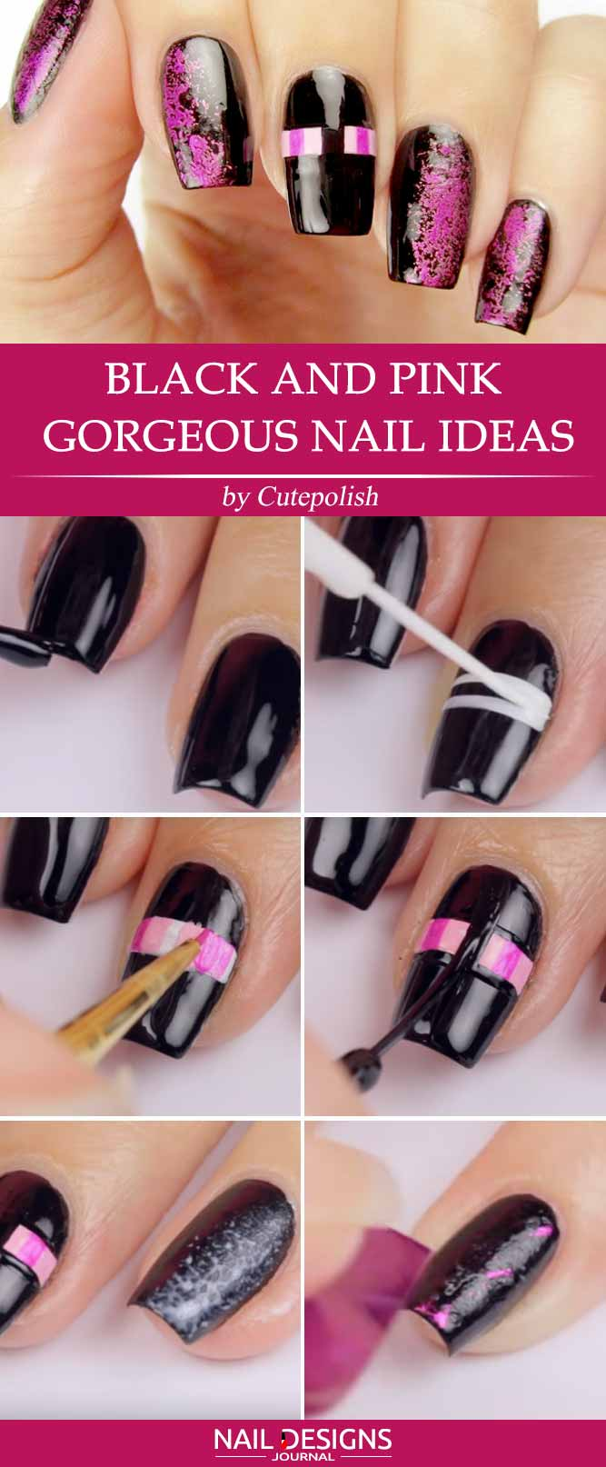 Black and Pink Gorgeous Nail Ideas
