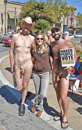 Clothed women with naked men.