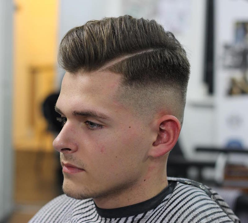 hard part high fade pomadour classic mens haircut