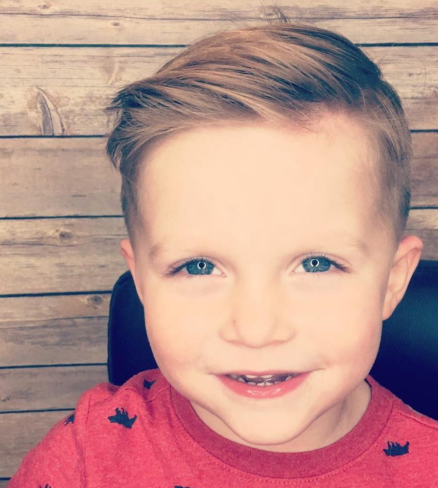 Side part hairstyle for toddler boys