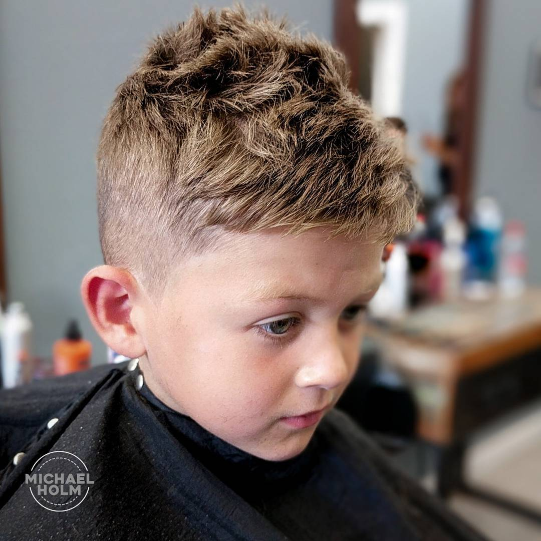 Short textured haircut for toddler boys