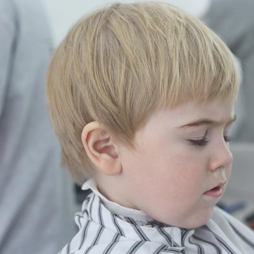 Classic toddler boy haircut with bangs