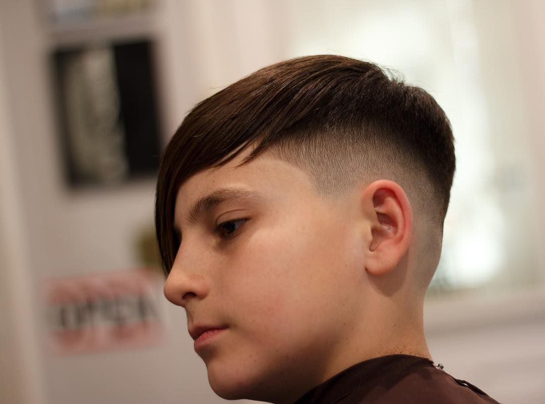 Teen boy haircut long fringe