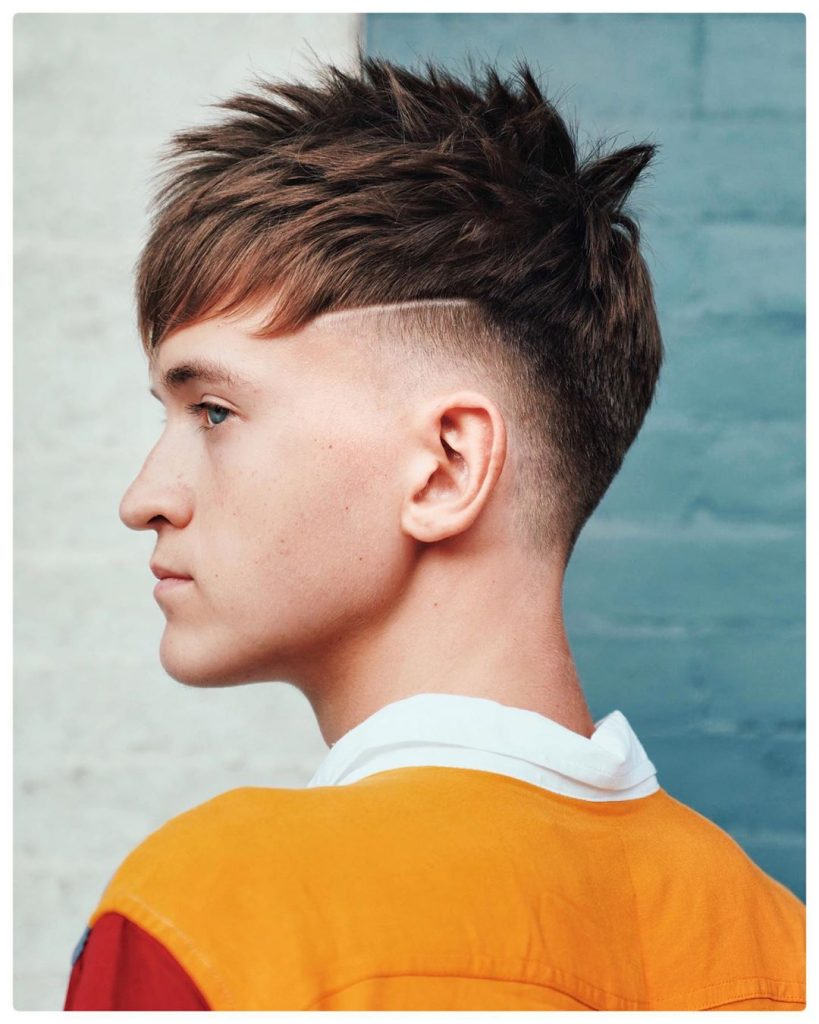 Spiky French crop with shaved line